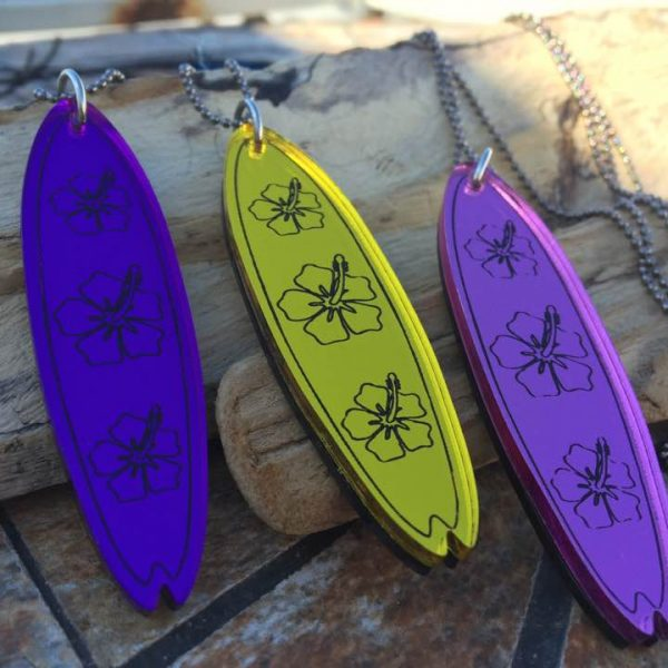 surfboard necklace purple pink yellow surf