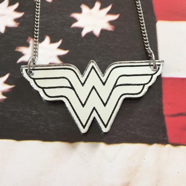 wonderwoman laser cut necklace mirrored silver