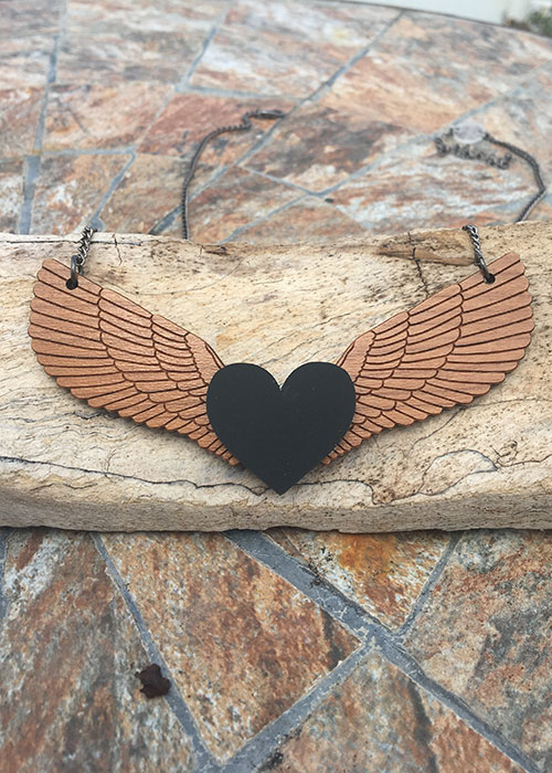 angel wings necklace wooden
