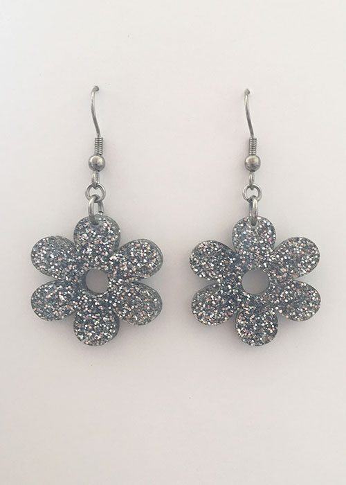 daisy earrings silver