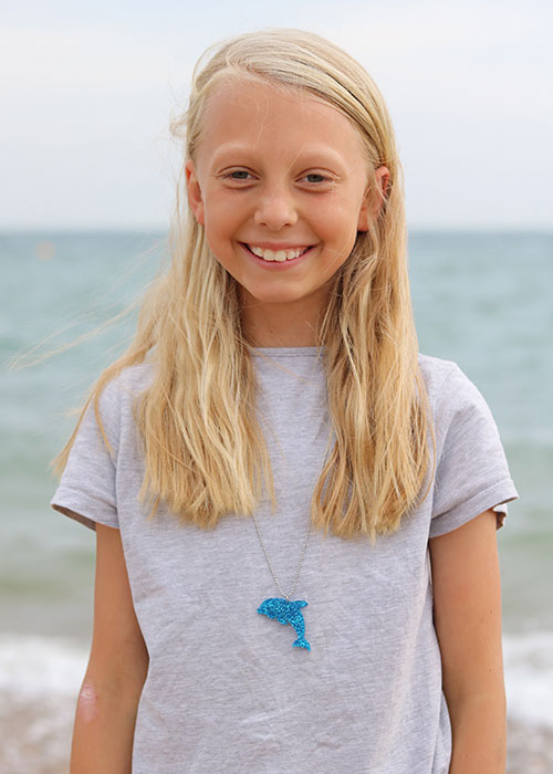 dolphin necklace blue