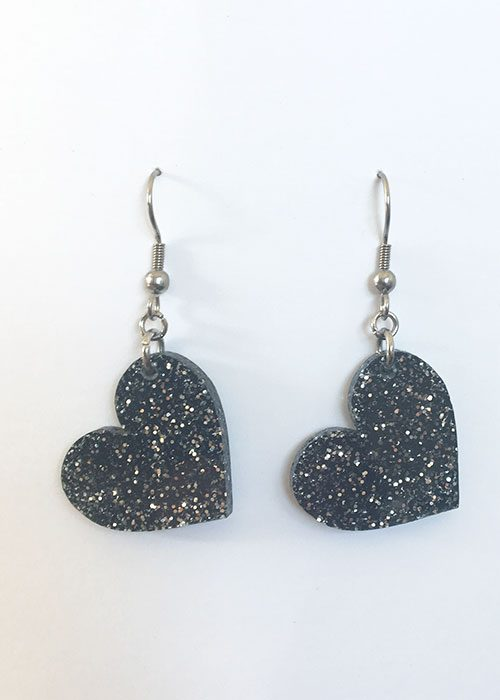 heart earrings sparkly black