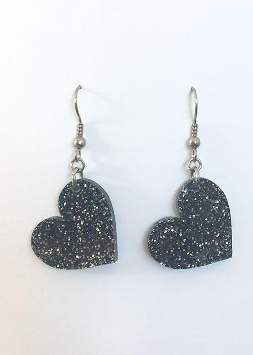 heart earrings sparkly black