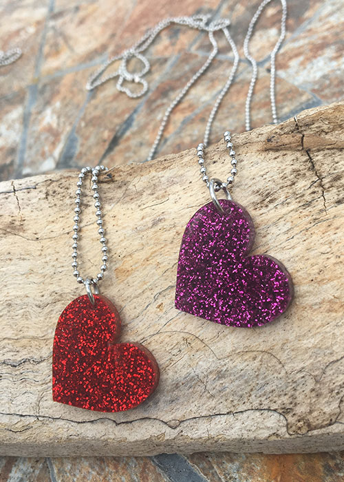 heart pendant red purple oonana