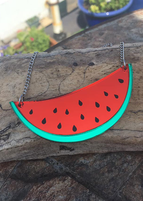 laser cut watermelon necklace