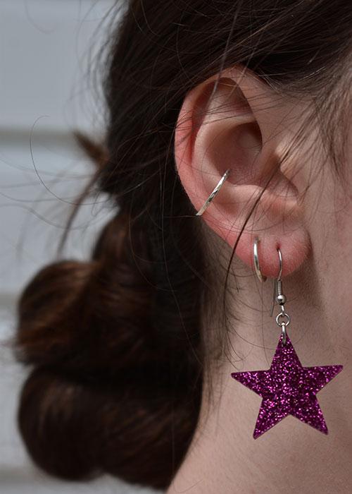 star earrings purple