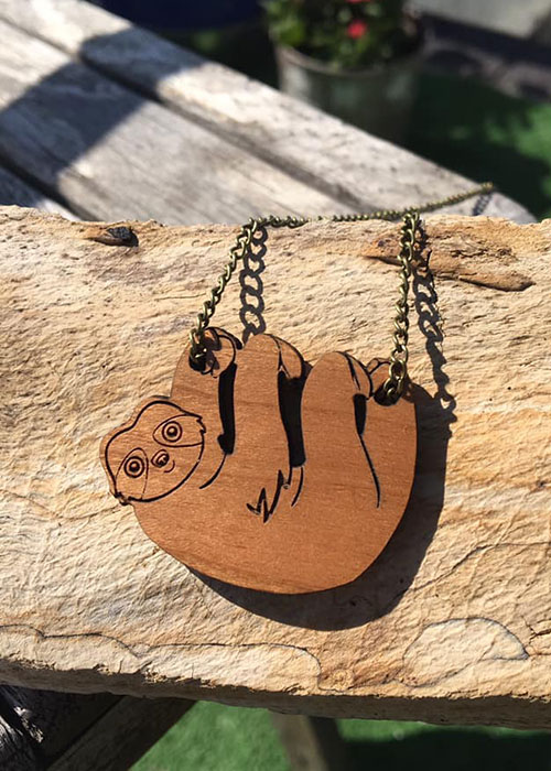 Sloth laser cut wooden necklace