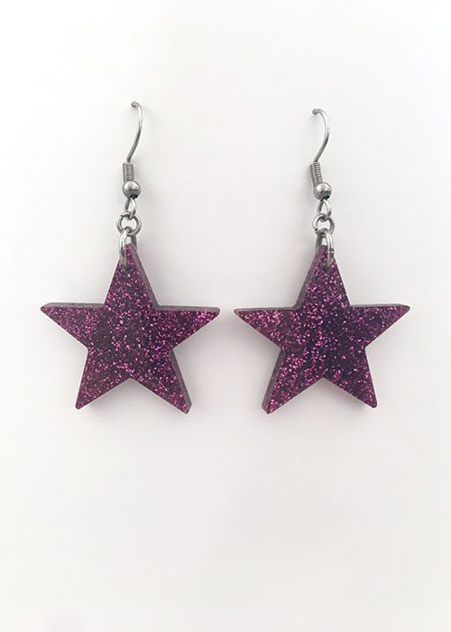 star earrings purple